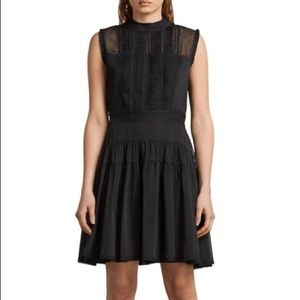 ALLSAINTS Myra Dot Pintuck Dress Black s10